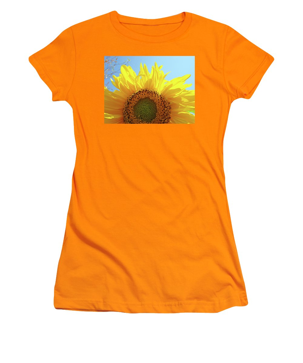 Sunflower Women's T-Shirt (Athletic Fit) featuring the photograph Sunflower Sunlit Sun Flowers Giclee Art Prints Baslee Troutman by Baslee Troutman