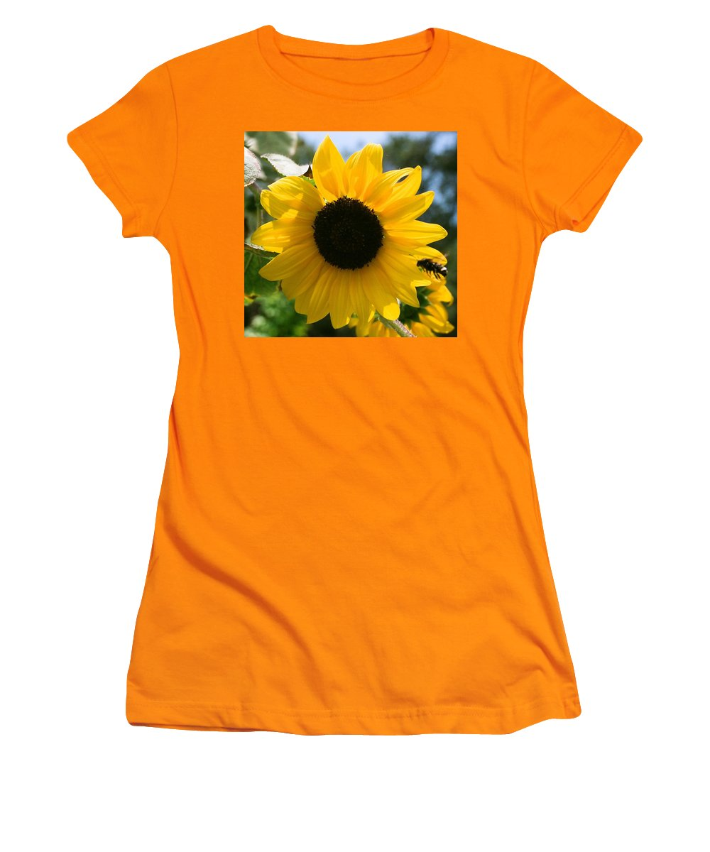 Flower Women's T-Shirt (Athletic Fit) featuring the photograph Sunflower With Bee by Dean Triolo