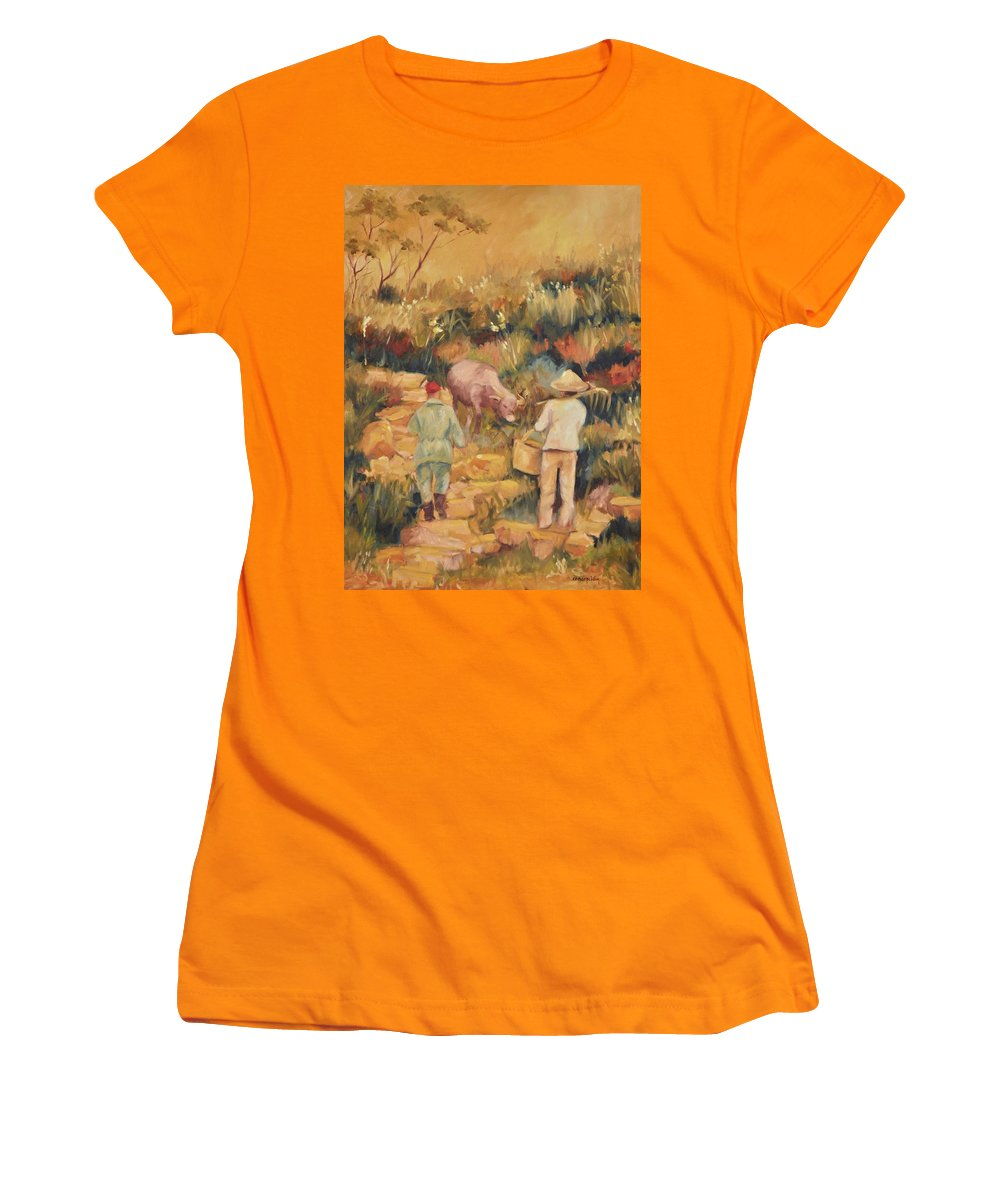Water Buffalo Women's T-Shirt (Athletic Fit) featuring the painting Taipei Buffalo Herder by Ginger Concepcion