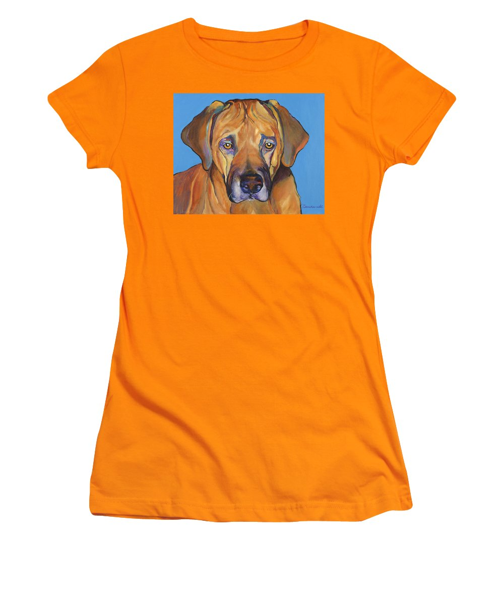 Rhodesian Ridgeback Dog Ridgeback African Colorful Orange Gold Yellow Red Women's T-Shirt (Athletic Fit) featuring the painting Talen by Pat Saunders-White