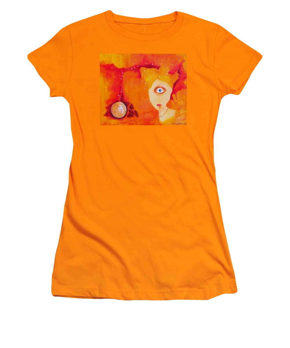 Tangerine Orange Eyes Woman Pearls Thoughts Life Egg Women's T-Shirt (Athletic Fit) featuring the painting Tangerine Dream by Veronica Jackson