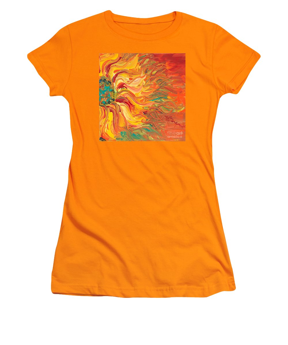 Sunjflower Women's T-Shirt (Athletic Fit) featuring the painting Textured Fire Sunflower by Nadine Rippelmeyer