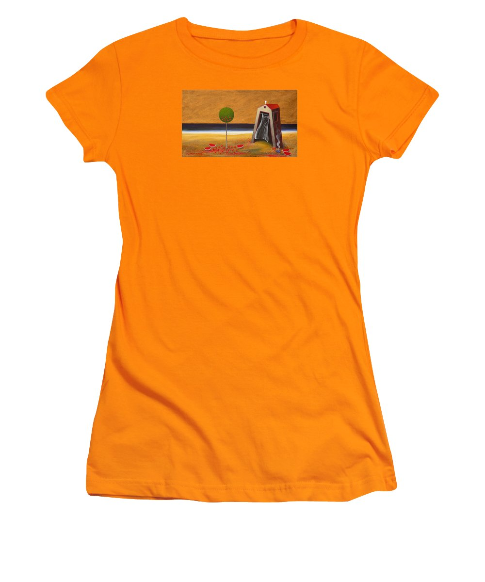 Astronomy Women's T-Shirt (Athletic Fit) featuring the painting the Buff House by Dimitris Milionis