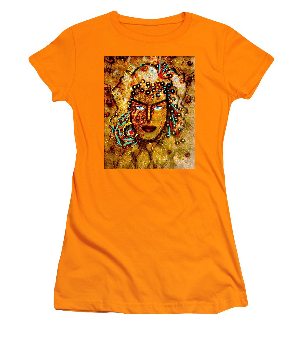 Goddess Women's T-Shirt (Athletic Fit) featuring the painting The Golden Goddess by Natalie Holland