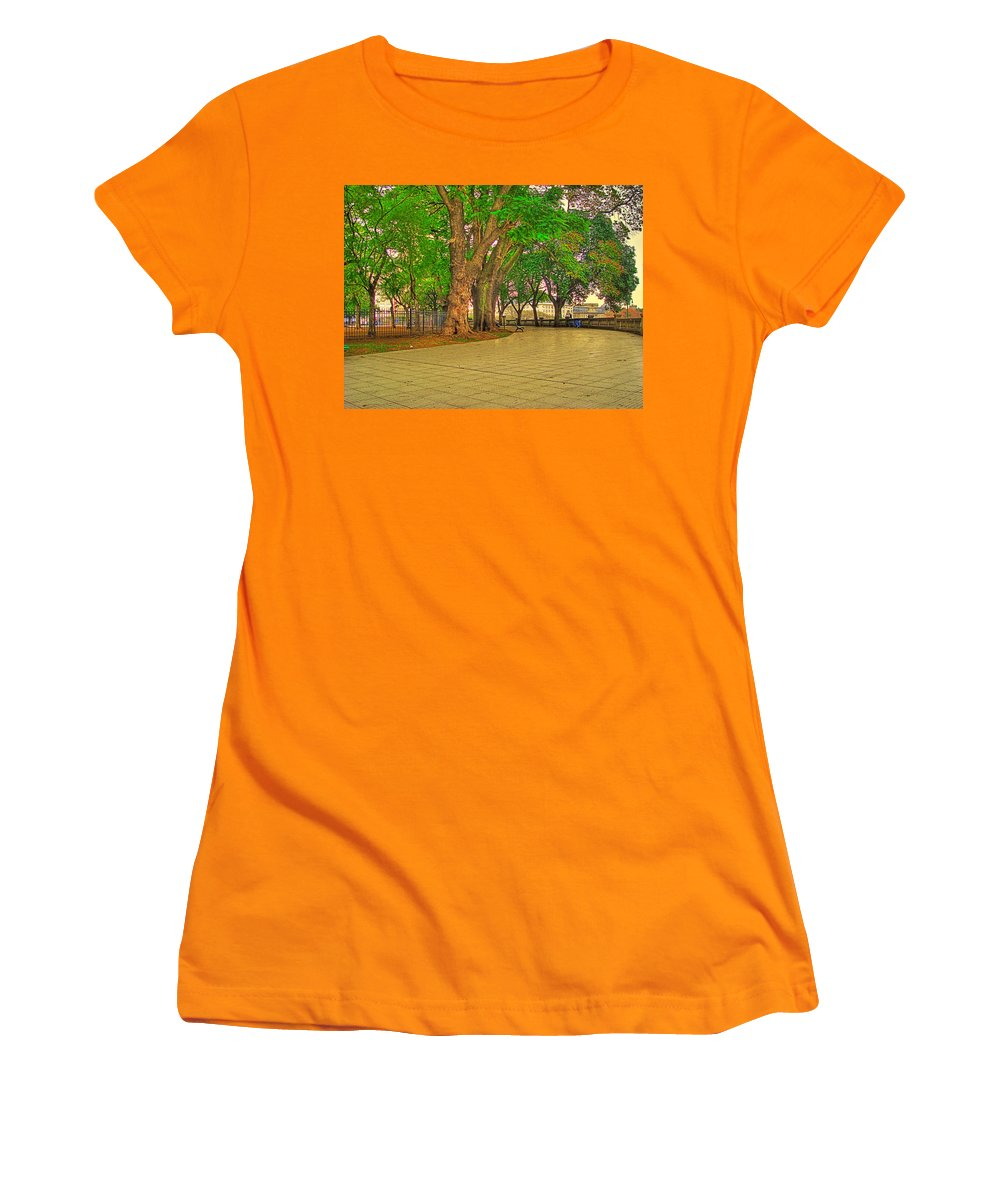 Trees Women's T-Shirt (Athletic Fit) featuring the photograph The Park by Francisco Colon
