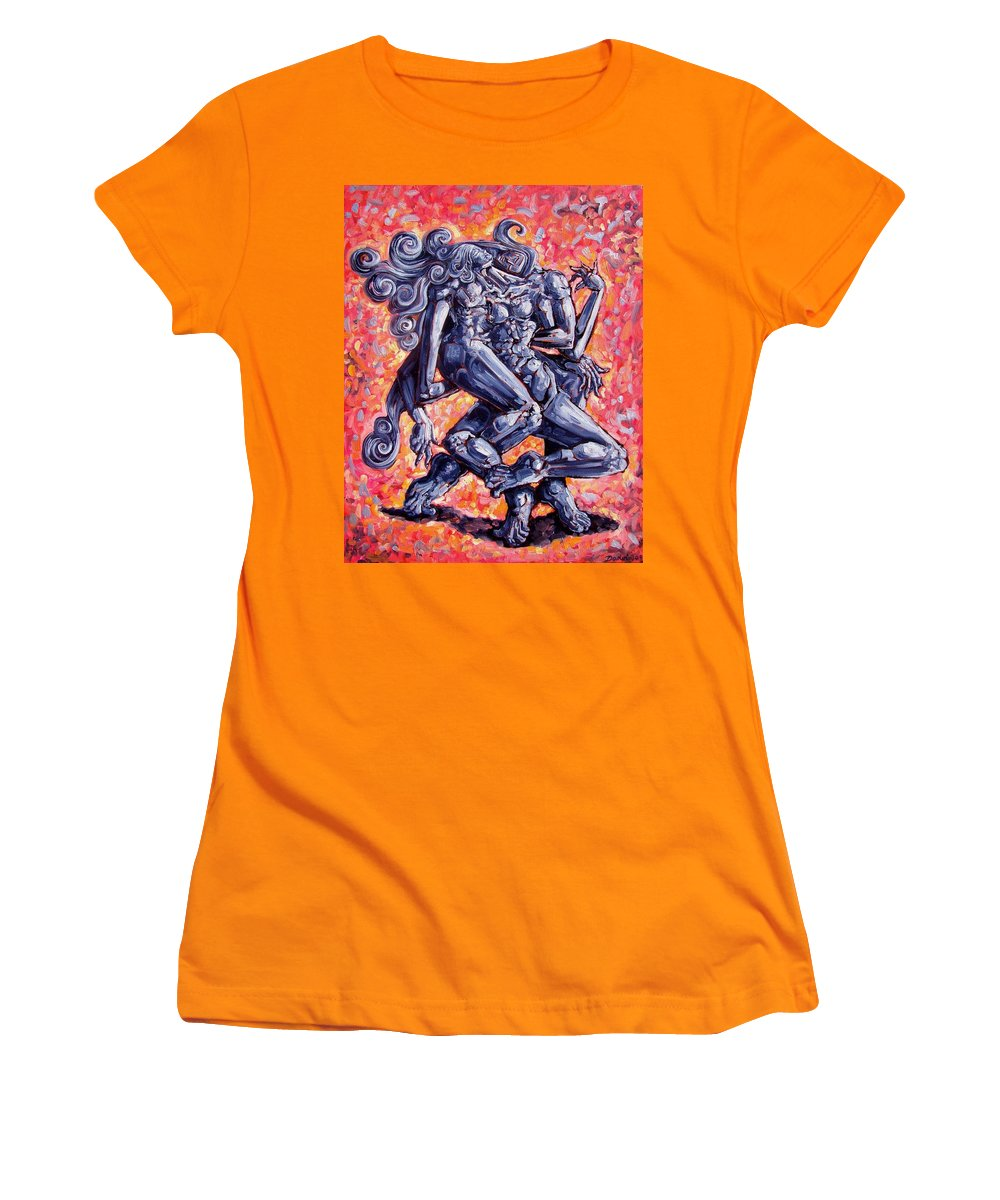 Surrealism Women's T-Shirt (Athletic Fit) featuring the painting The Strangers by Darwin Leon