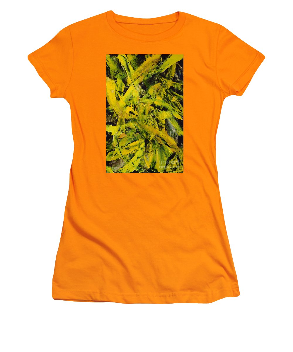 Abstract Women's T-Shirt (Athletic Fit) featuring the painting Transitions Vi by Dean Triolo