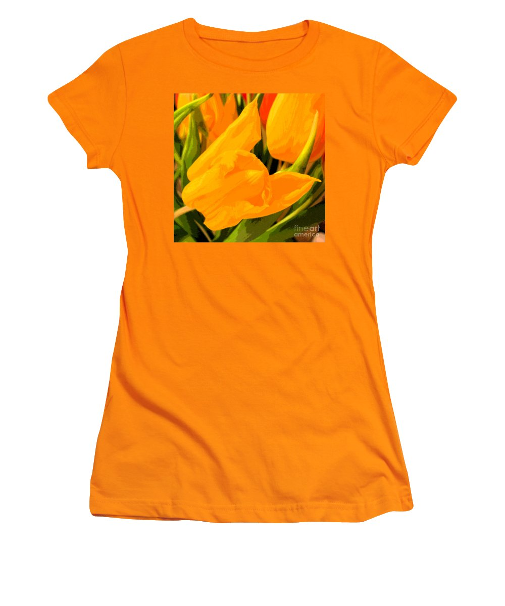Tulip Women's T-Shirt (Athletic Fit) featuring the photograph Tulips by Amanda Barcon