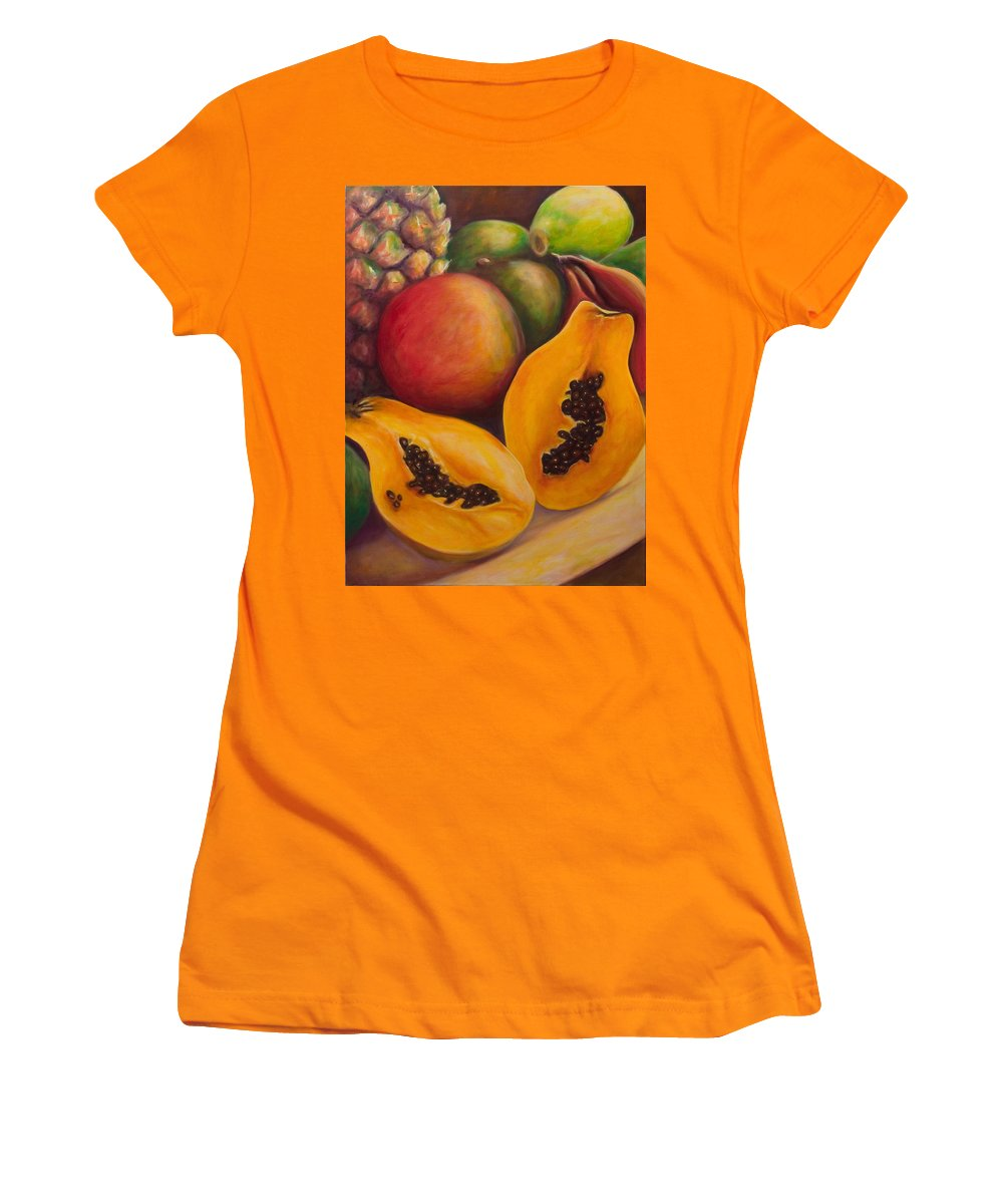 Papaya Women's T-Shirt (Athletic Fit) featuring the painting Twins by Shannon Grissom