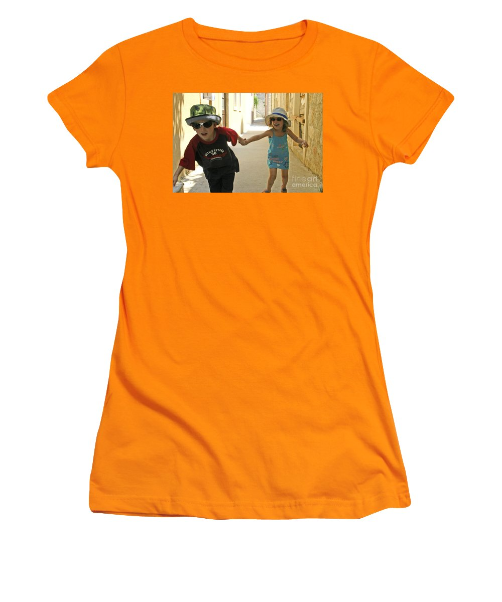 Child Women's T-Shirt (Athletic Fit) featuring the photograph Two Excited Children by Danny Yanai
