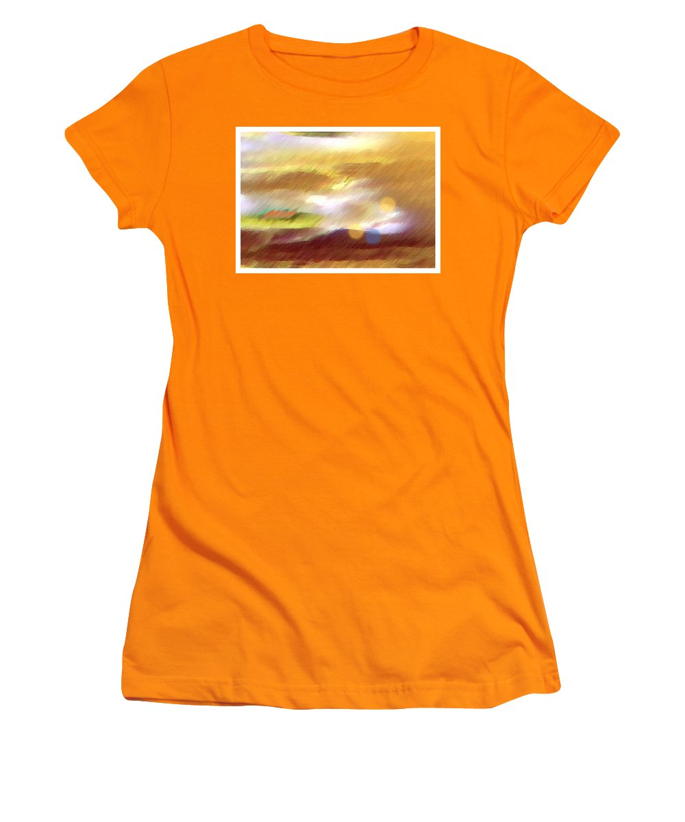 Landscape Women's T-Shirt (Athletic Fit) featuring the painting Valleylights by Anil Nene