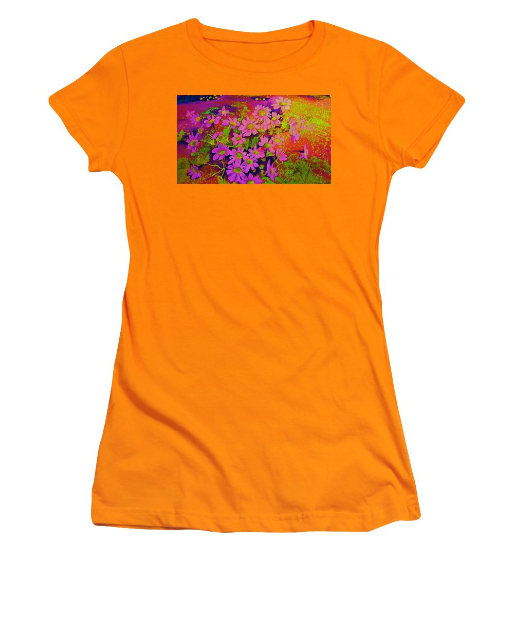Violets Women's T-Shirt (Athletic Fit) featuring the painting Violets Among The Heather by Carole Spandau