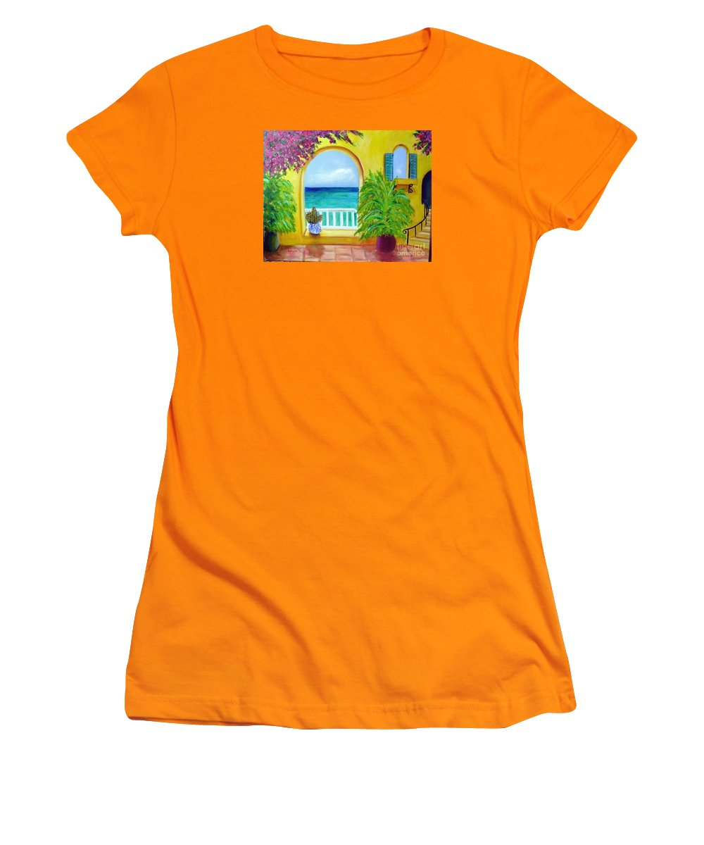Patio Women's T-Shirt (Athletic Fit) featuring the painting Vista Del Agua by Laurie Morgan