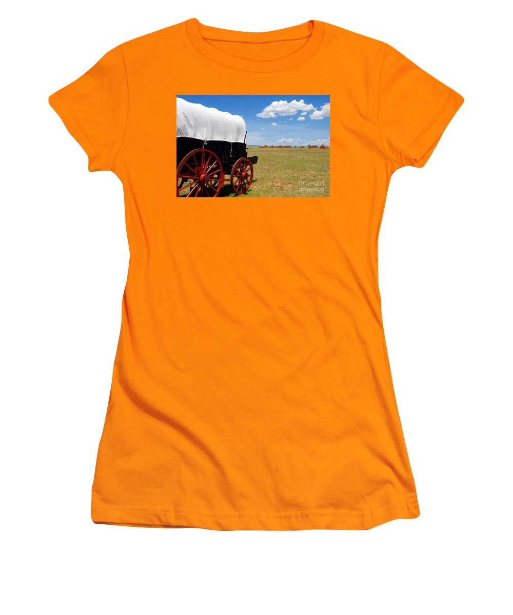 Fort Union New Mexico Women's T-Shirt (Athletic Fit) featuring the photograph Wagon At Old Fort Union by David Lee Thompson