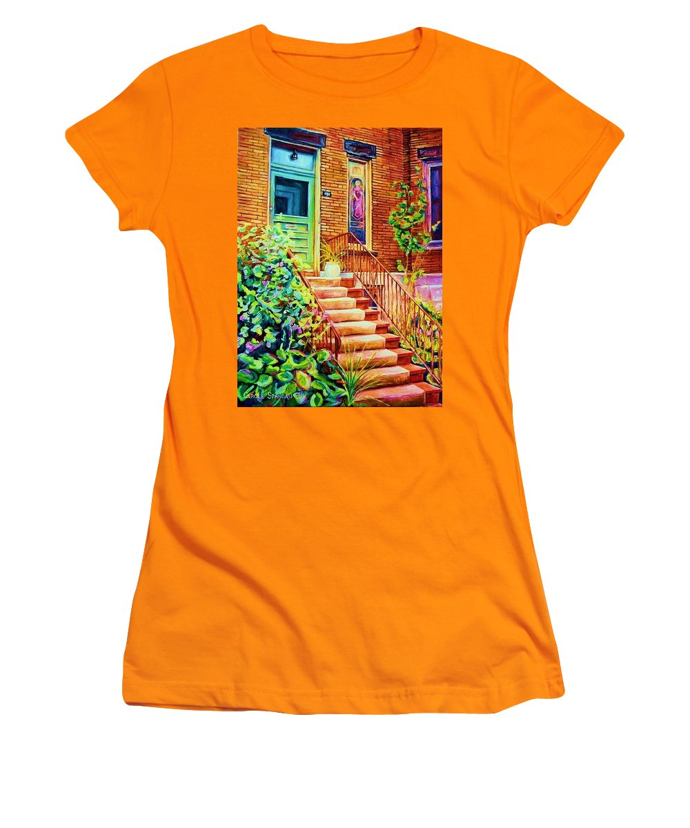 Westmount Home Women's T-Shirt (Athletic Fit) featuring the painting Westmount Home by Carole Spandau