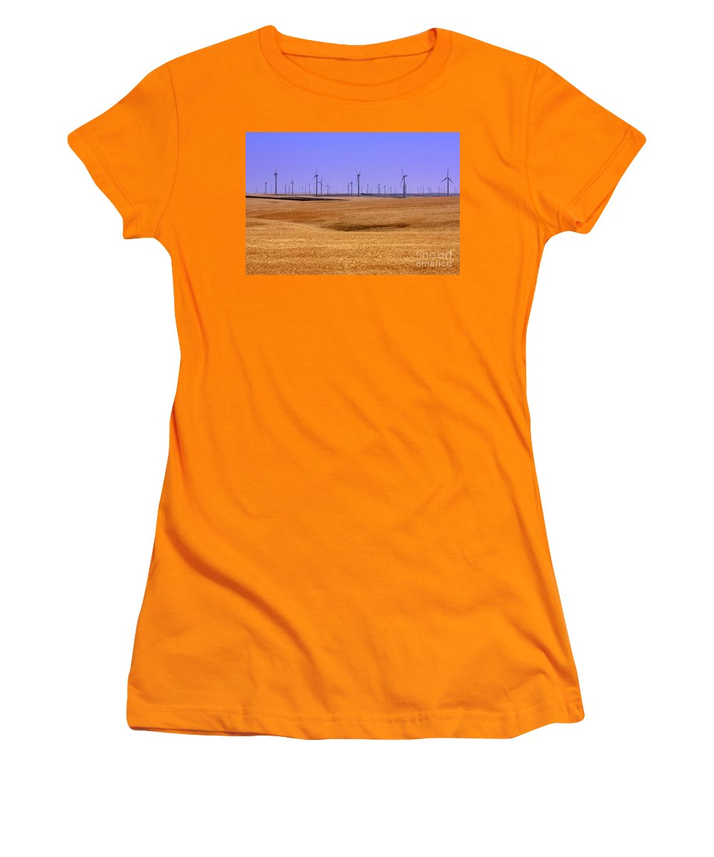 Wind Turbines Women's T-Shirt (Athletic Fit) featuring the photograph Wheat Fields And Wind Turbines by Carol Groenen