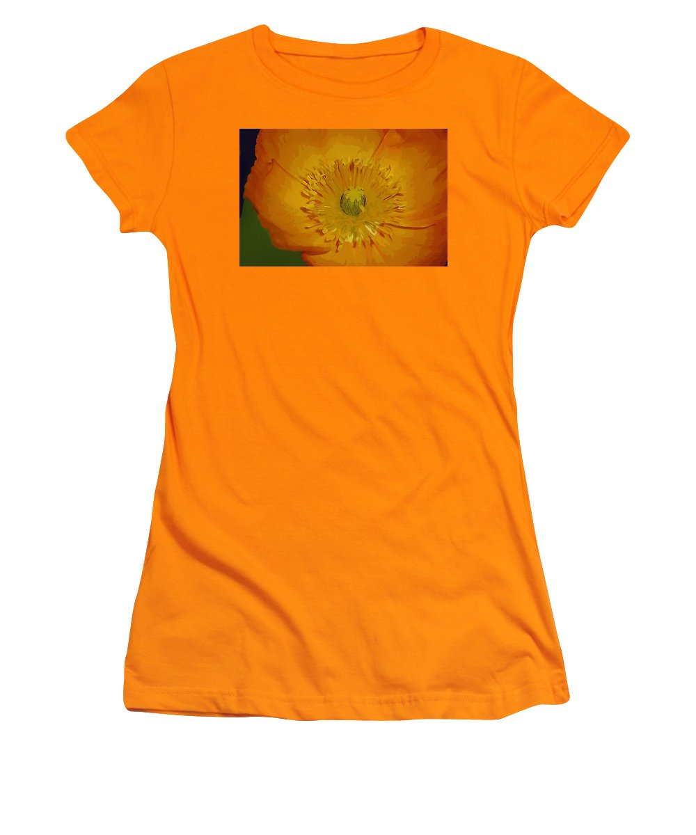 Poppy Women's T-Shirt (Athletic Fit) featuring the photograph Yellow Poppy by Donna Bentley