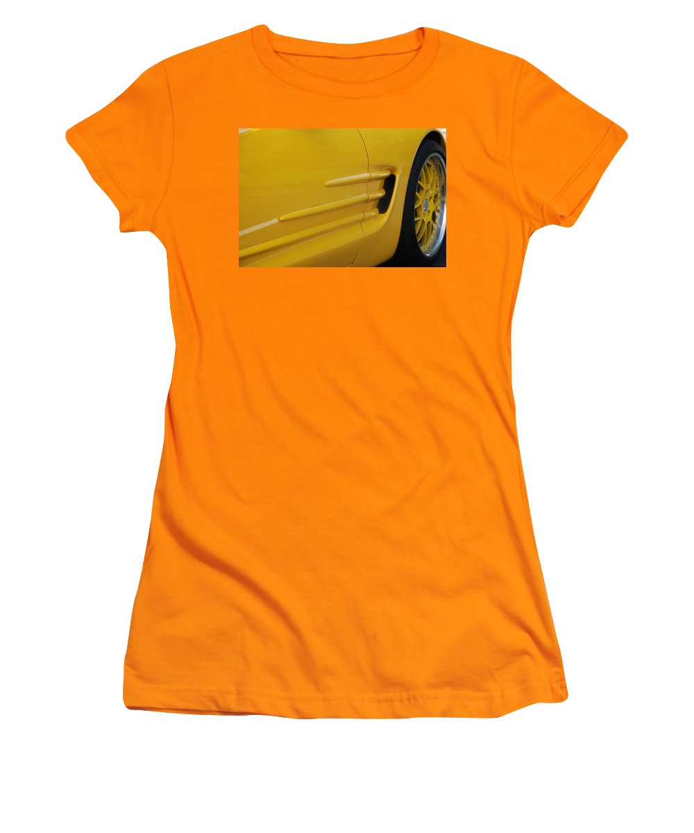 Corvette Women's T-Shirt (Athletic Fit) featuring the photograph Yellow Vette by Rob Hans