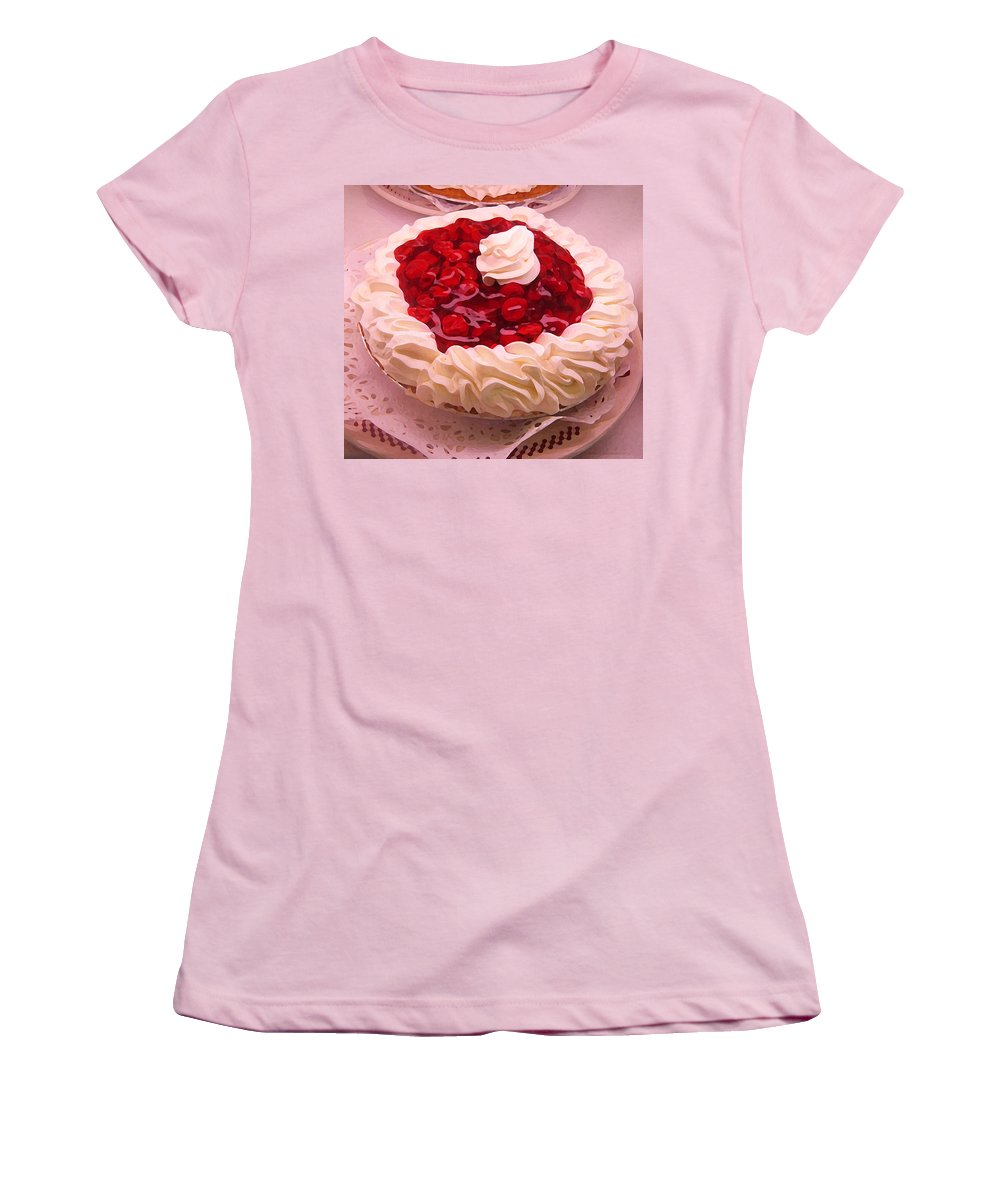 Still Life Women's T-Shirt (Athletic Fit) featuring the painting Cherry Pie With Whip Cream by Amy Vangsgard