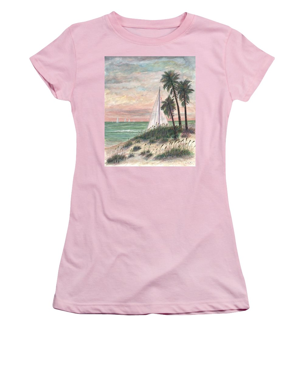 Sailboats; Palm Trees; Ocean; Beach; Sunset Women's T-Shirt (Athletic Fit) featuring the painting Hideaway by Ben Kiger