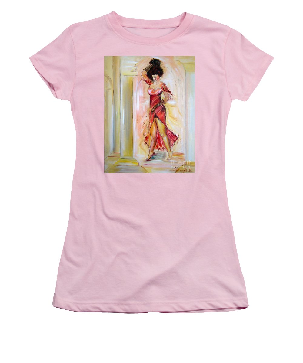 Contemporary Art Women's T-Shirt (Athletic Fit) featuring the painting Lady In Red by Silvana Abel