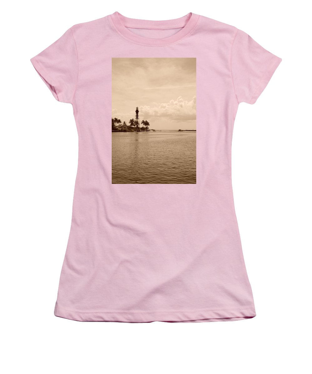 Sepia Women's T-Shirt (Athletic Fit) featuring the photograph Lighthouse Point by Rob Hans