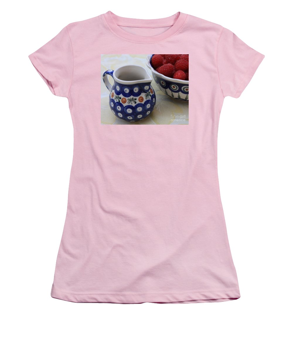 Raspberries Women's T-Shirt (Athletic Fit) featuring the photograph Raspberries With Cream by Carol Groenen