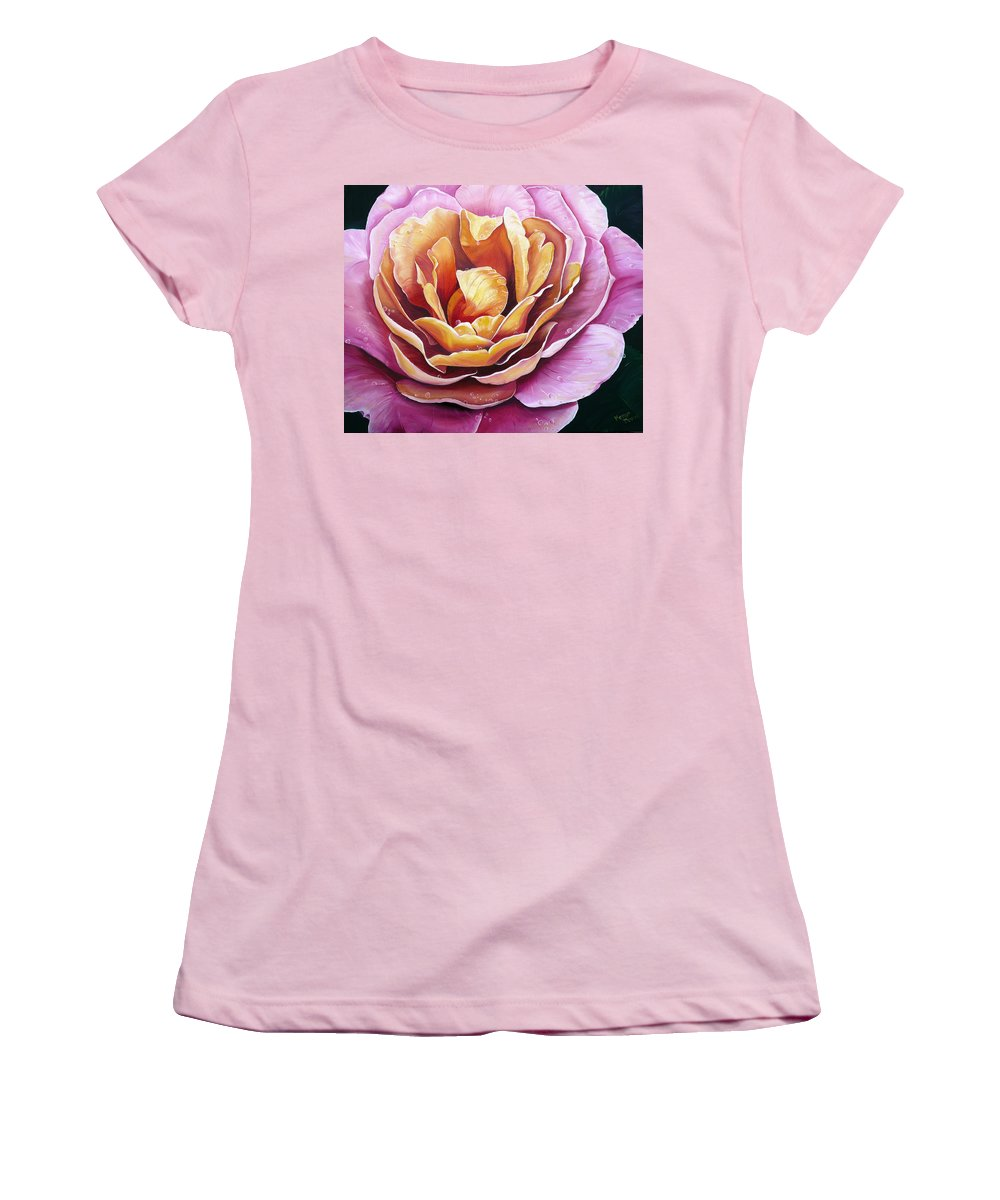 Rose Painting Pink Yellow Floral Painting Flower Bloom Botanical Painting Botanical Painting Women's T-Shirt (Athletic Fit) featuring the painting Rosy Dew by Karin Dawn Kelshall- Best