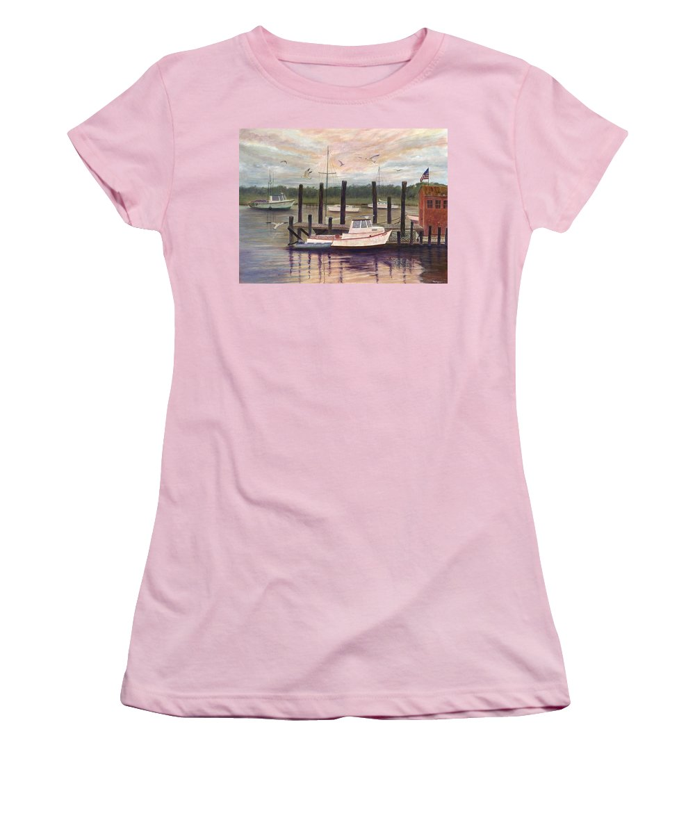 Charleston; Boats; Fishing Dock; Water Women's T-Shirt (Athletic Fit) featuring the painting Shem Creek by Ben Kiger