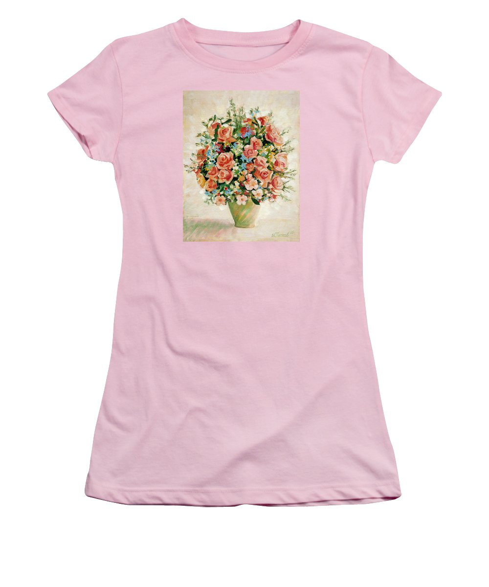 Flowers Women's T-Shirt (Athletic Fit) featuring the painting Still Life With Roses by Iliyan Bozhanov