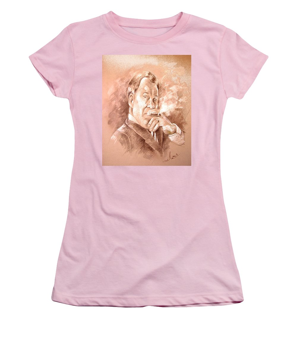 Portrait William Shatner Women's T-Shirt (Athletic Fit) featuring the painting William Shatner As Denny Crane In Boston Legal by Miki De Goodaboom