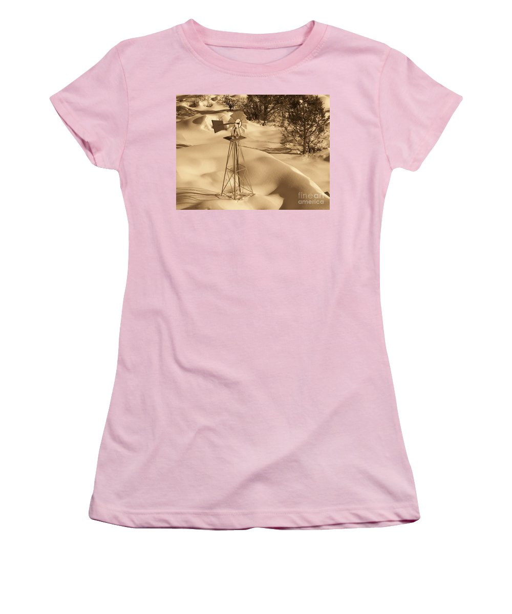 Wind Mill Women's T-Shirt (Athletic Fit) featuring the photograph Wind Mill by Brandi Maher