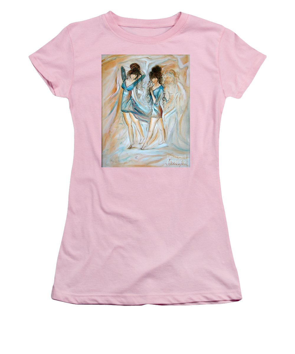 Contemporary Art Women's T-Shirt (Athletic Fit) featuring the painting Wondering by Silvana Abel