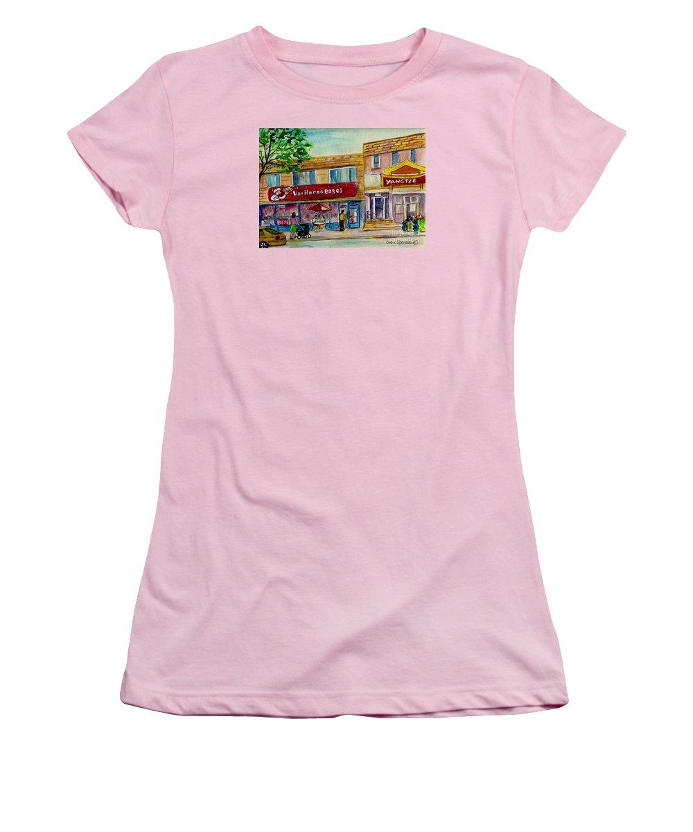 Van Horne Bagel Women's T-Shirt (Athletic Fit) featuring the painting Van Horne Bagel With Yangzte Restaurant by Carole Spandau