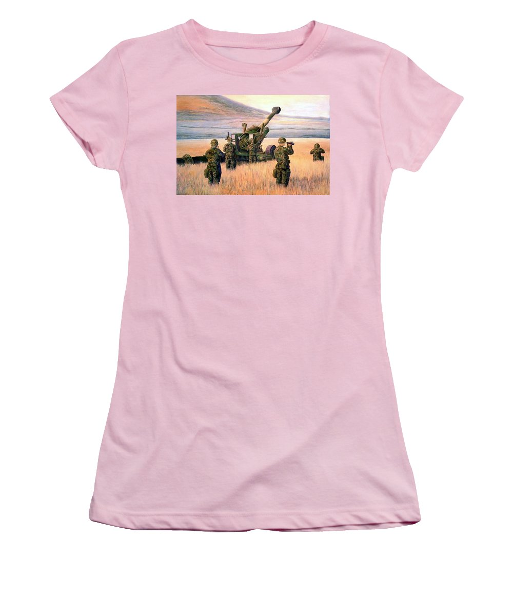 Signed And Numbered Prints Of The Montana National Guard Women's T-Shirt (Athletic Fit) featuring the print 1-190th Artillery by Scott Robertson