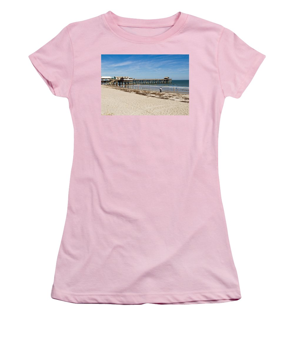Florida; Cocoa; Beach; Atlantic; Ocean; East; Space; Coast; Brevard; Central; Pier; Surf; Surfing; F Women's T-Shirt (Athletic Fit) featuring the photograph Cocoa Beach In Florida by Allan Hughes