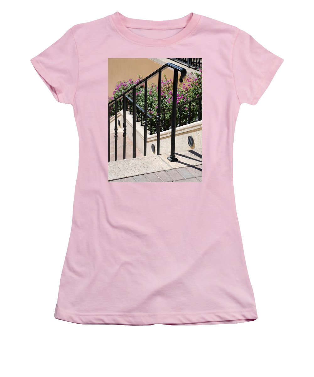 Stairs Women's T-Shirt (Athletic Fit) featuring the photograph Stairs And Rails by Rob Hans
