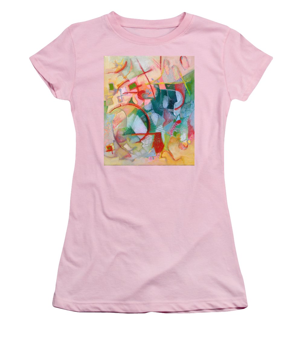 Abstract Artwork Women's T-Shirt (Athletic Fit) featuring the painting Abstract 3 by Susanne Clark