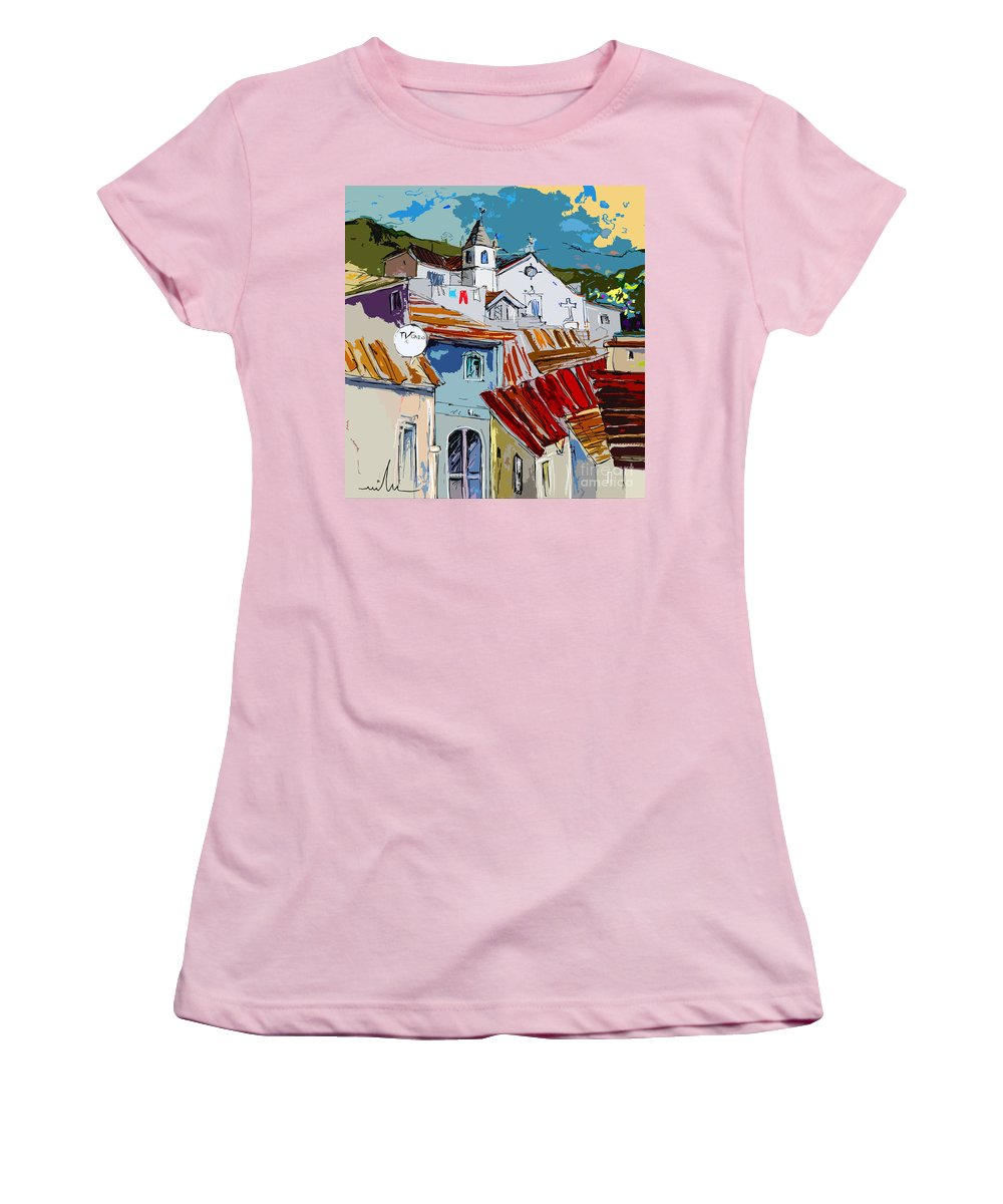 Travel Women's T-Shirt (Athletic Fit) featuring the painting Alcoutim In Portugal 08 Bis by Miki De Goodaboom
