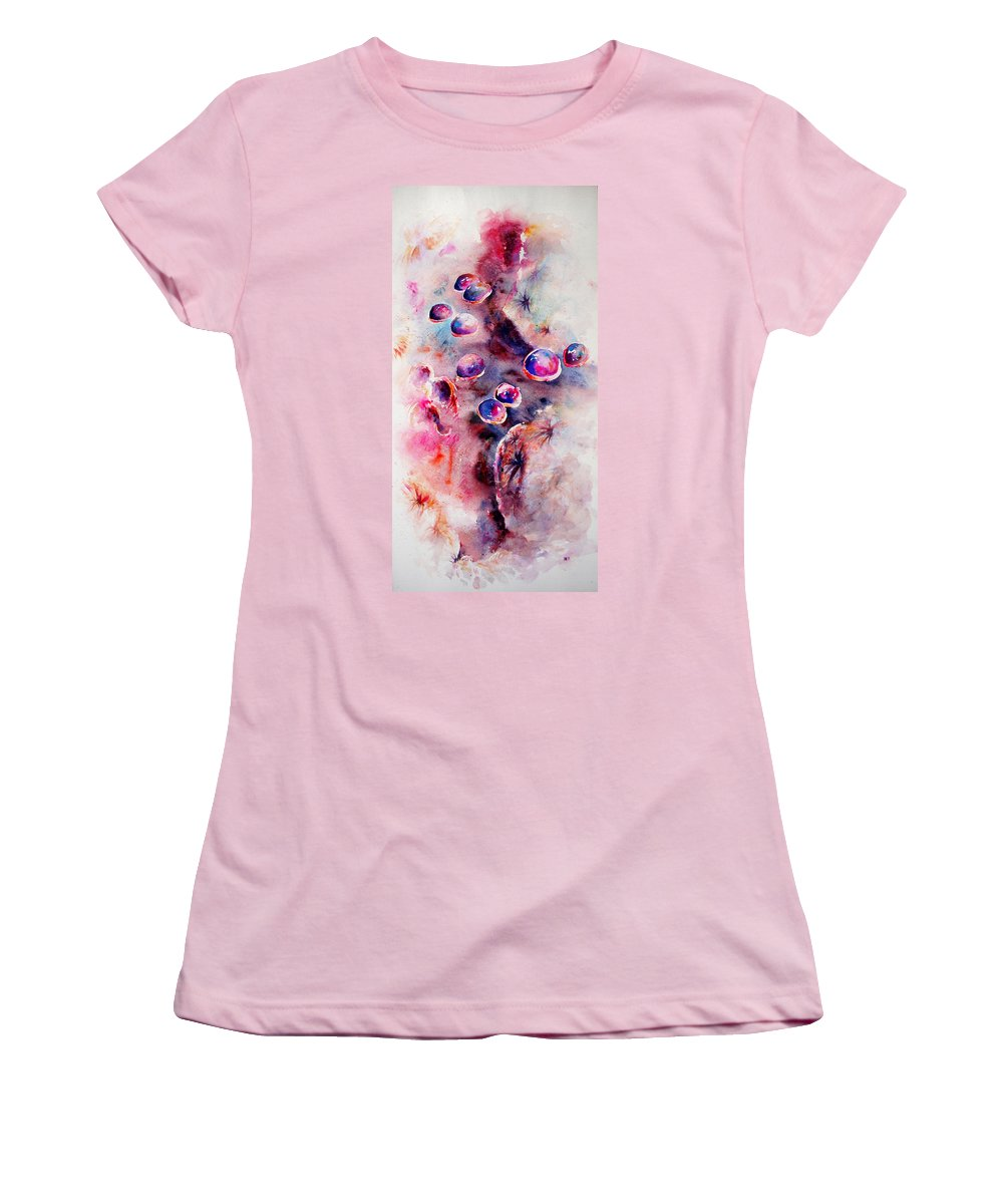 Abstract Women's T-Shirt (Athletic Fit) featuring the painting Anemone by Rachel Christine Nowicki