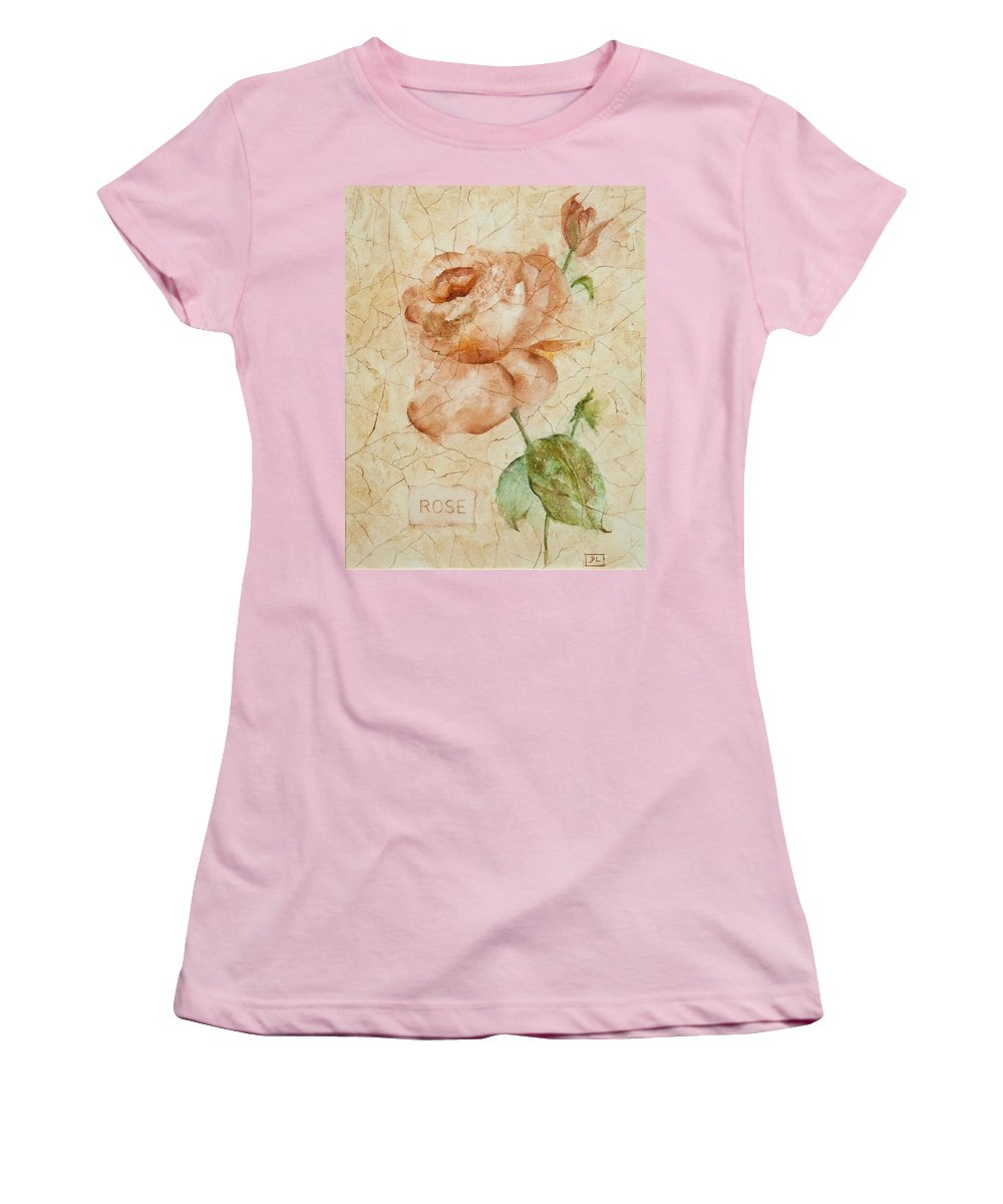 Rose Women's T-Shirt (Athletic Fit) featuring the painting Antique Rose by Debbie Lewis