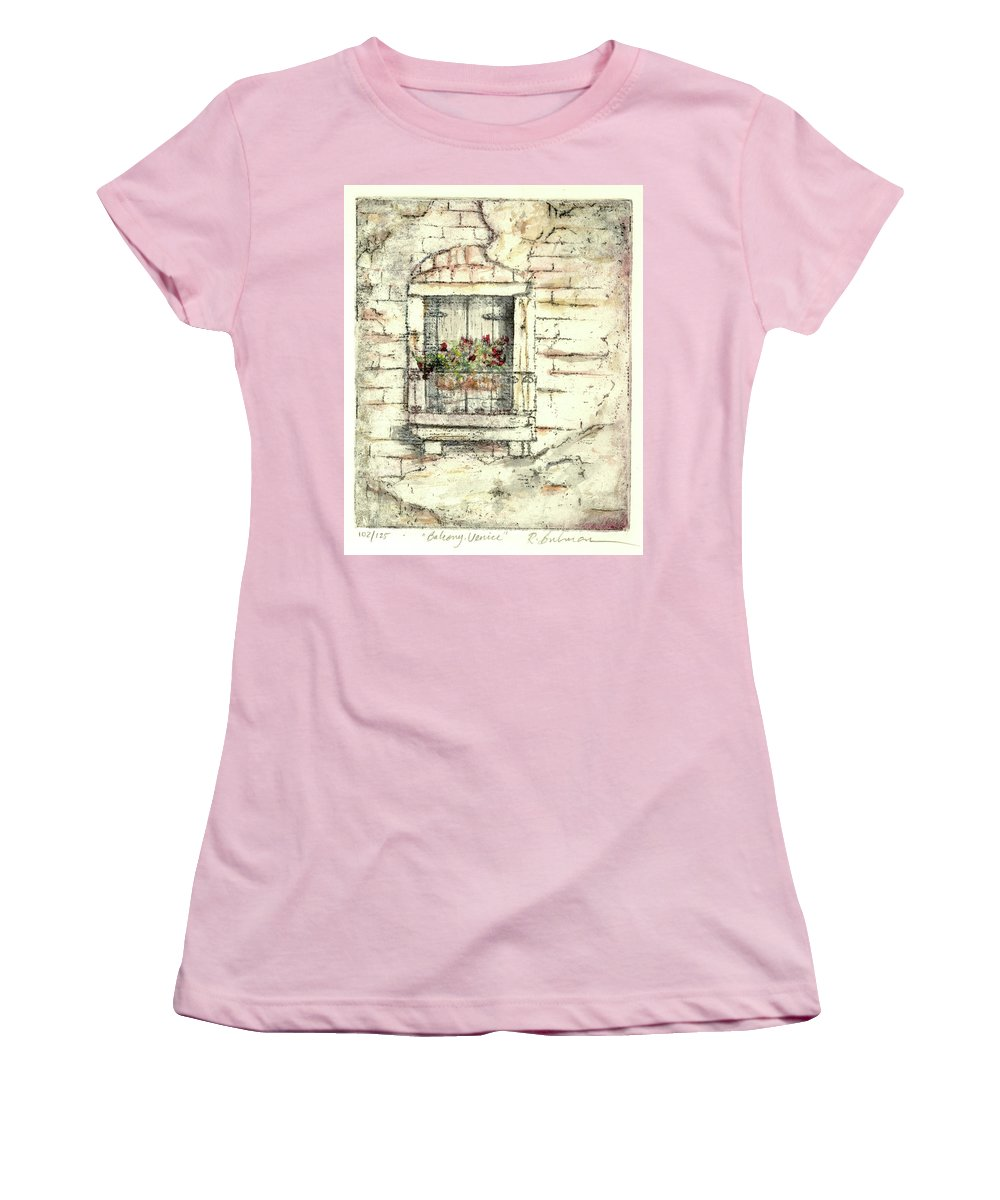 Venice Women's T-Shirt (Athletic Fit) featuring the painting Balcony Venice by Richard Bulman