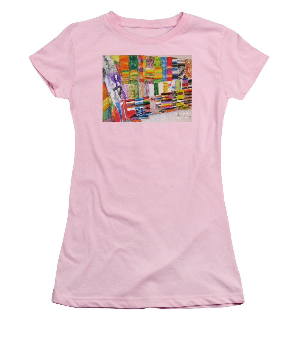 Bright Colors Women's T-Shirt (Athletic Fit) featuring the painting Bazaar Sabado - Gifted by Judith Espinoza