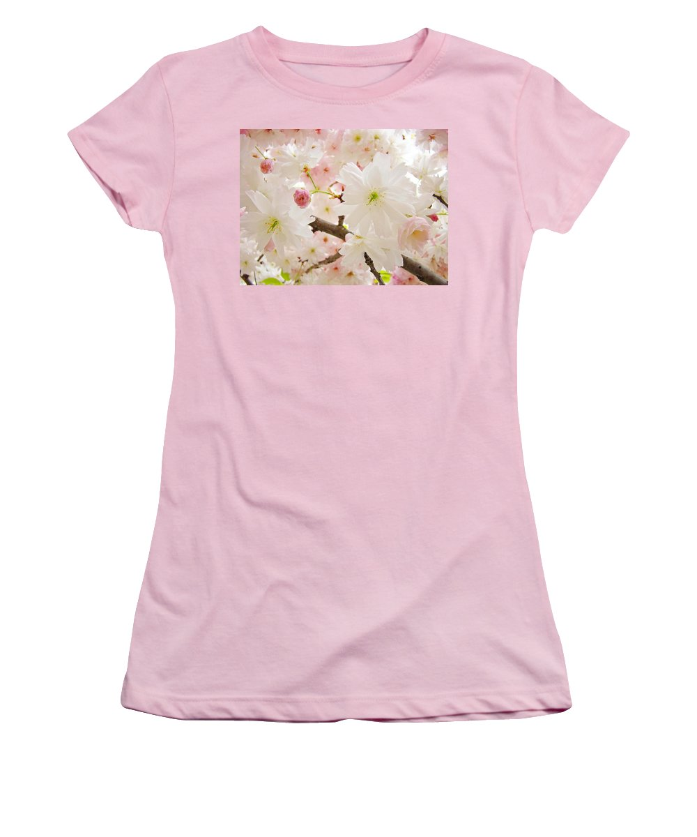 Nature Women's T-Shirt (Athletic Fit) featuring the photograph Blossoms Art Print 53 Sunlit Pink Tree Blossoms Macro Springtime Blue Sky by Baslee Troutman