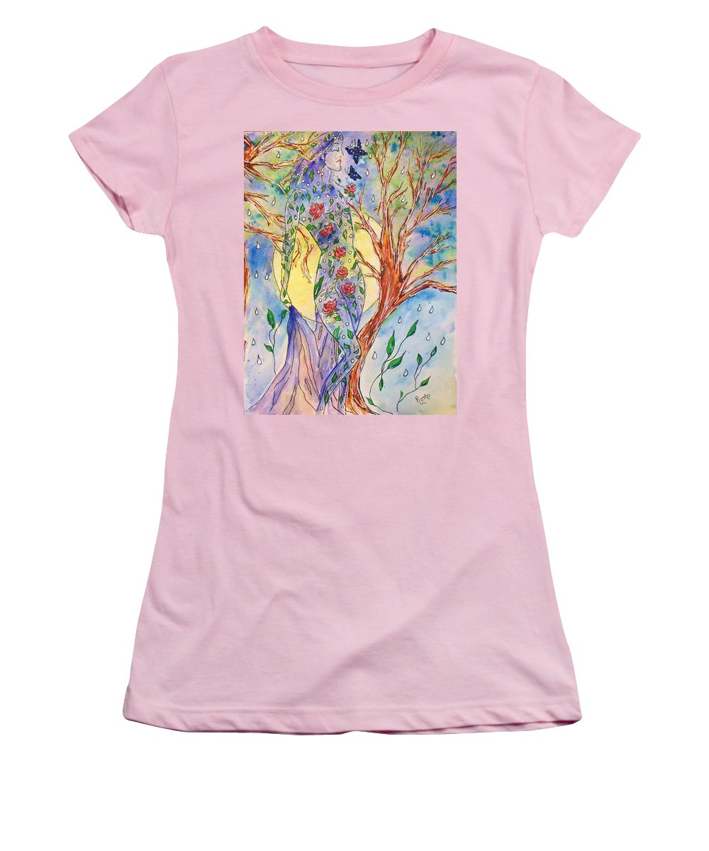 Female Figure Women's T-Shirt (Athletic Fit) featuring the painting Breath Of Life by Robin Monroe