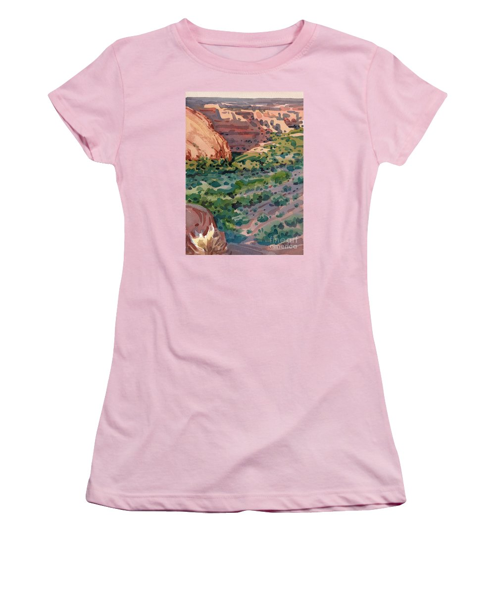 Canyon De Chelly Women's T-Shirt (Athletic Fit) featuring the painting Canyon Shadows by Donald Maier