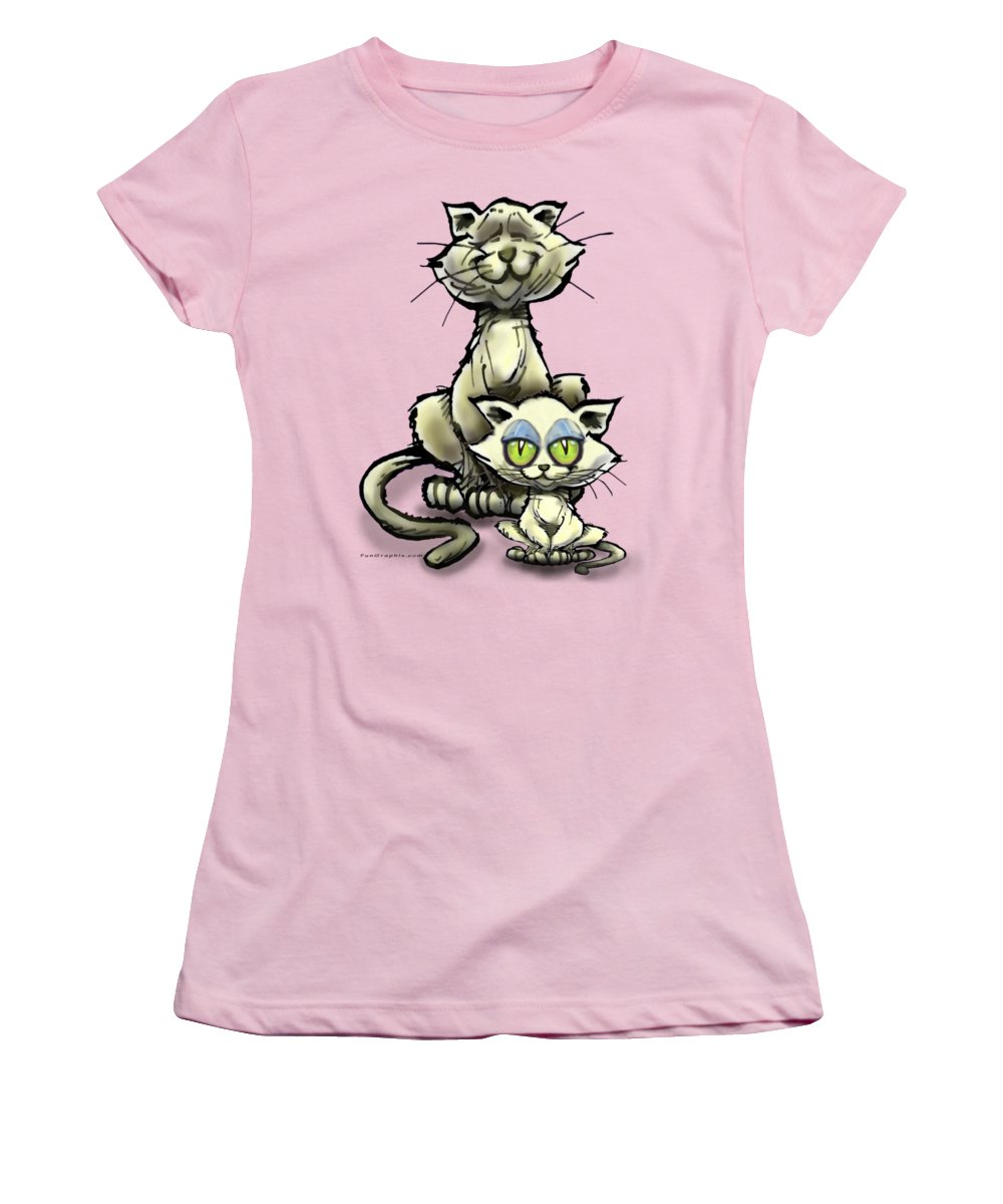 Cat Women's T-Shirt (Athletic Fit) featuring the digital art Cat N Kitten by Kevin Middleton