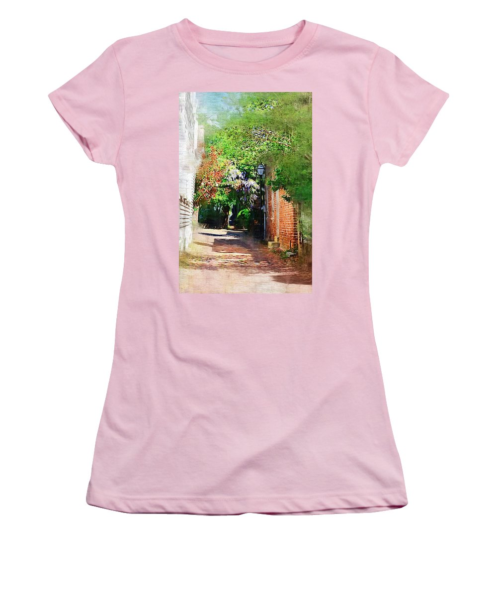 Alley Women's T-Shirt (Athletic Fit) featuring the photograph Charlestons Alley by Donna Bentley