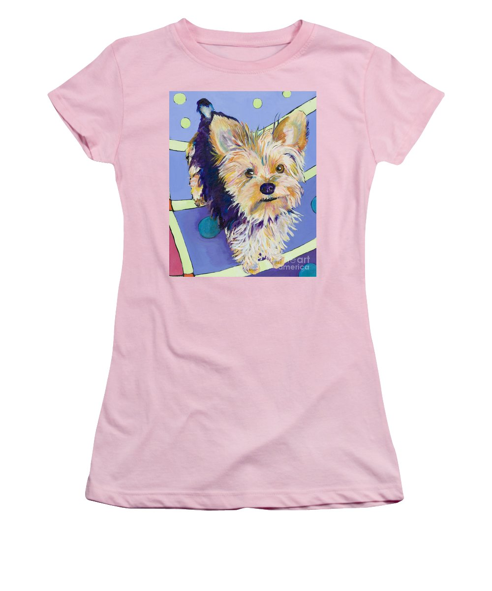 Pet Portraits Women's T-Shirt (Athletic Fit) featuring the painting Claire by Pat Saunders-White