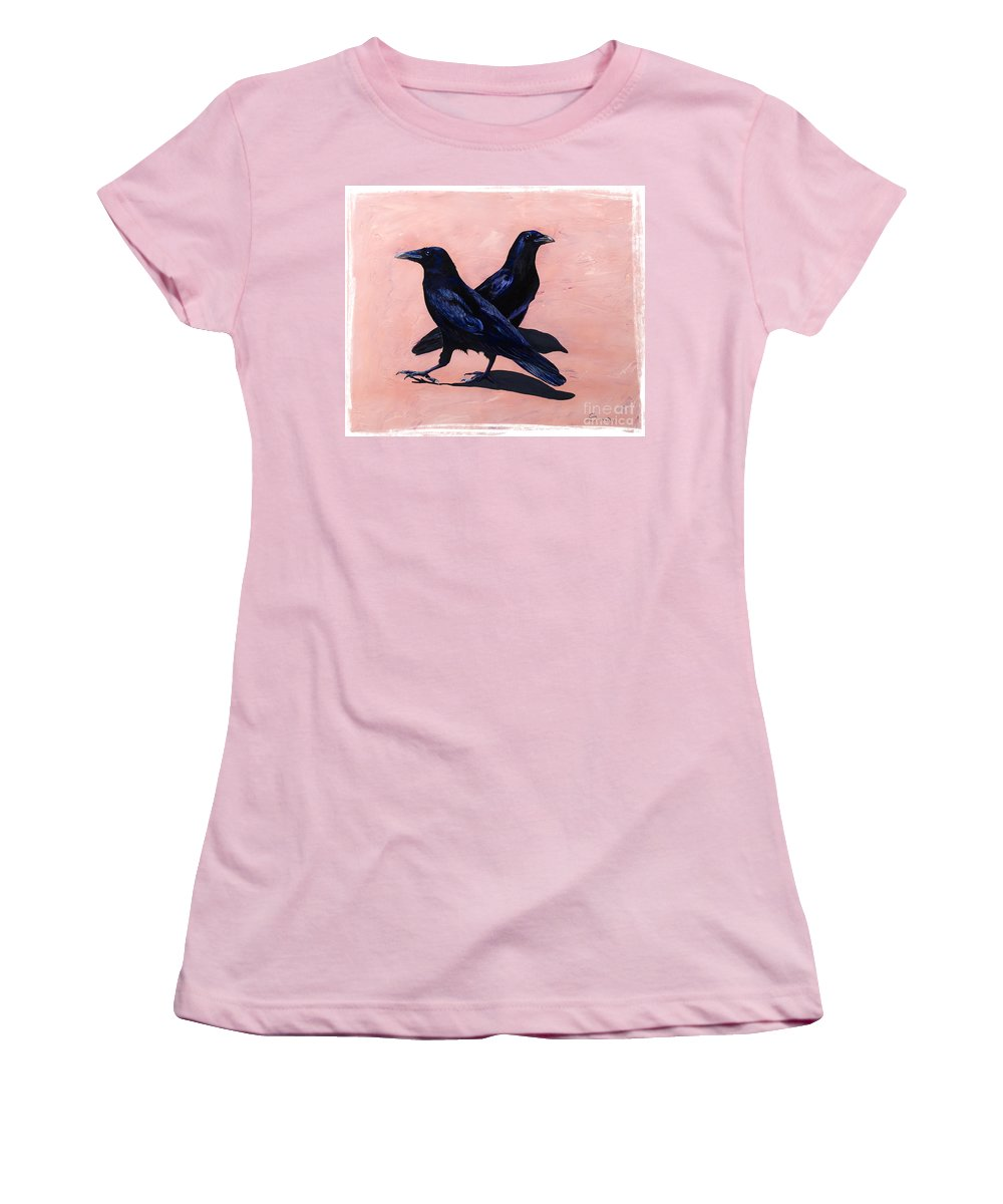 Crows Women's T-Shirt (Athletic Fit) featuring the painting Crows by Sandi Baker